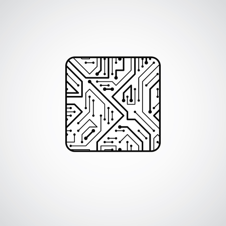 microprocessor: Vector technology cpu design with square microprocessor scheme. Computer circuit board, digital element.
