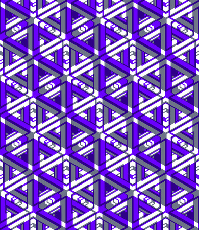 Colorful illusive abstract geometric seamless 3d pattern with transparency effects. Vector stylized infinite backdrop, best for graphic and web design, EPS10. Illustration