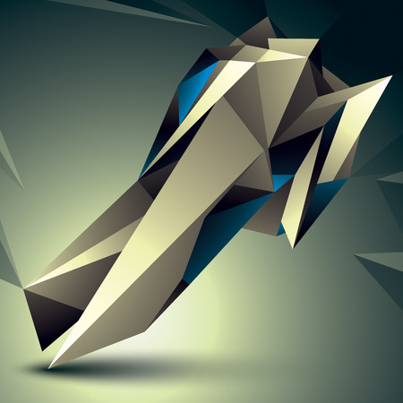 spatial: Spatial vector digital object isolated, 3d technology figure with geometric elements. Illustration