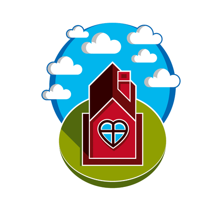 harmony idea: Illustration of house on cloudy background, beautiful fairy vector picture. Family harmony at home, love and relationship idea. Building facade with heart symbol.