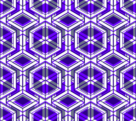 intertwine: Bright symmetric seamless pattern with interweave figures. Continuous geometric composition with transparency effects, for use in graphic design.