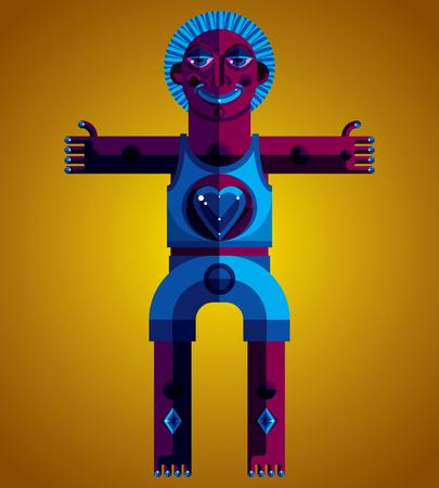 idol: Spiritual totem vector illustration, meditation theme drawing. Anthropomorphic character, mystic idol isolated.