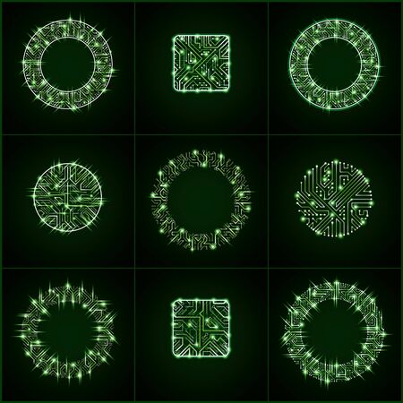 Collection of vector microchip designs, cpu. Information communication technology elements with sparkles, luminescent circuit boards in the shape of square and circle.