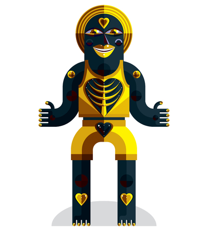 karma design: Bizarre creature vector illustration, cubism graphic modern picture. Flat design image of an odd character isolated on white.
