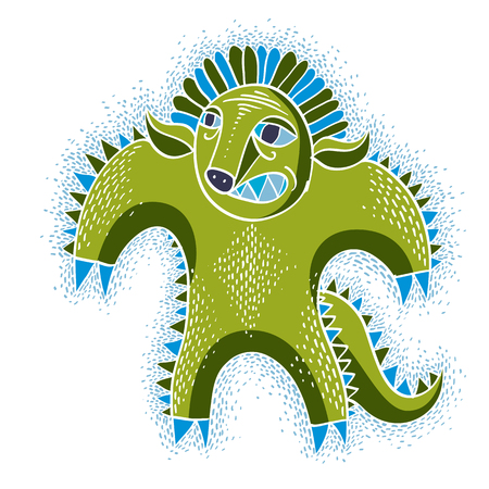 Comic character, vector angry green alien monster. Emotional expression idea graphic symbol, design element. Illustration