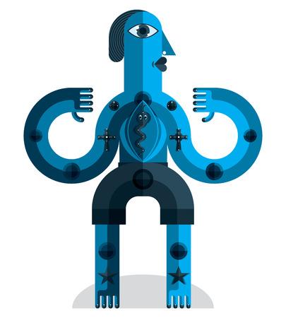 cubismo: Ilustraci�n vectorial modernista, geom�trico avatar estilo del cubismo aislado en el fondo blanco. Imagen de car�cter extra�o hecho en dise�o plano.