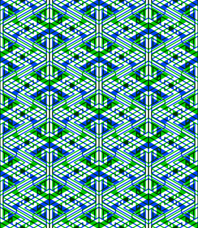 intertwine: Seamless optical ornamental pattern with three-dimensional geometric figures. Intertwine colored EPS10 composition. Illustration