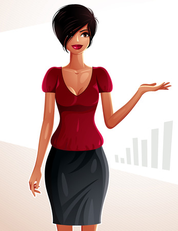 mulatto: Beautiful mulatto businesswoman, full-length portrait. Colorful drawing of a cute slender girl with modern makeup and hairstyle showing business trend and graph to side with her hand Illustration