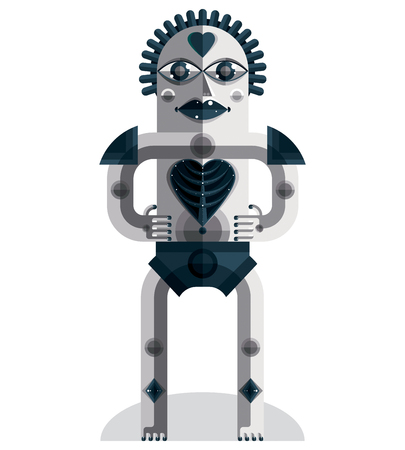 good karma: Flat design drawing of odd character, art picture made in cubism style. Vector grayscale illustration of spiritual totem isolated on white. Love concept. Illustration