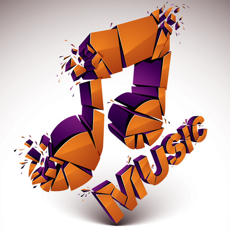 groove: 3d vector orange demolished musical notes, music word. Dimensional groove design element with refractions, explosion effect.