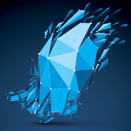demolished: Abstract 3d origami figure with connected white lines and dots. Vector low poly shattered design element with fractures and particles. Explosion effect demolished blue shape.