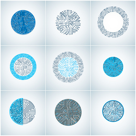 multidirectional: Set of vector abstract technology elements with round blue circuit boards. High tech circular digital schemes of electronic device, multidirectional arrows.