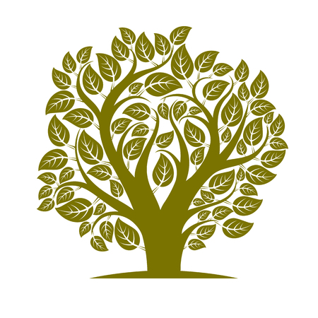 your text here: Vector illustration of tree with leaves and branches in the shape of heart. Your text here. Illustration