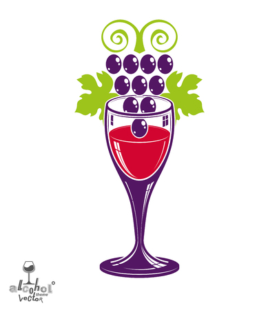 cluster: Winery theme vector illustration. Stylized wineglass with grapes cluster, racemation symbol best for use in advertising and graphic design. Illustration