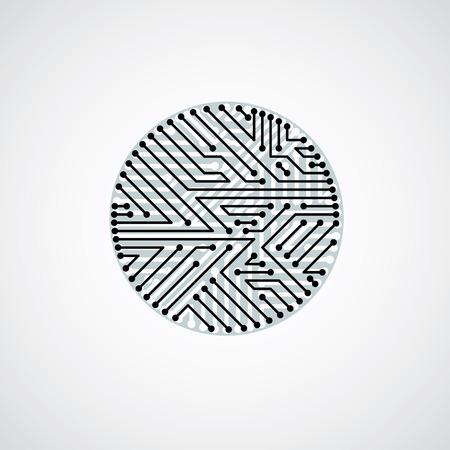 microprocessor: Vector circuit board circle, digital technologies abstraction. Black and white computer microprocessor scheme, futuristic design.