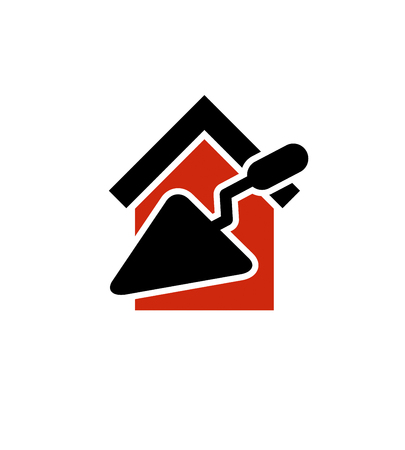 reconstruction: Classic spatula icon, build materials. House with work tools, plastering. Home reconstruction idea, repair team stylized vector symbol.