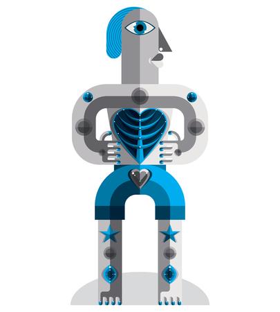 cubismo: Ilustraci�n vectorial tema de meditaci�n, dibujo de una criatura espeluznante en estilo modernista. �dolo espiritual creado en estilo del cubismo. Vectores