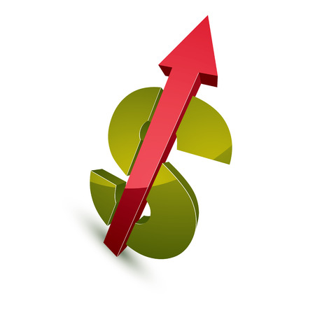 threedimensional: Three-dimensional dollar symbol with an arrow pointing up, economics growth trend conceptual icon. Business development 3d vector design element. Illustration