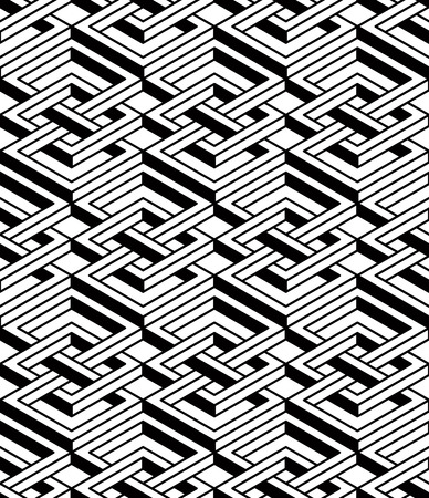 splice: Geometric seamless pattern, endless black and white vector regular background. Abstract covering with 3d superimpose figures. Illustration
