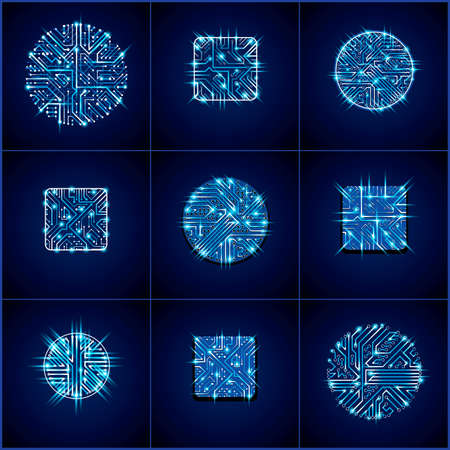 luminescent: Collection of vector microchip designs, cpu. Information communication technology elements with sparkles, blue luminescent circuit boards in the shape of square and circle. Illustration
