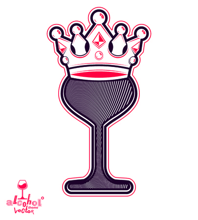 rendezvous: Elegant wineglass with king crown, artistic vector goblet. Imperial idea emblem, best for use in graphic design.