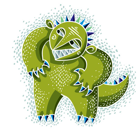 fictitious: Vector cute Halloween character ogre, fictitious creature. Cool illustration of freak green monster.