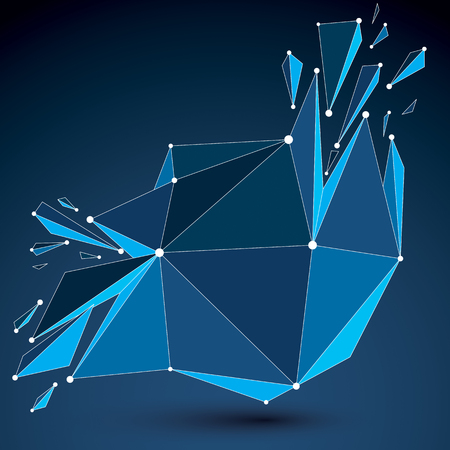 refractions: 3d vector digital wireframe object broken into different particles and refractions, geometric polygonal structure with blue lines mesh. Low poly shattered shape with luminescent effect.