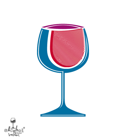 rendezvous: Classic pink elegant wine goblet, stylish alcohol theme illustration. Artistic wineglass, romantic rendezvous idea. Lifestyle graphic design element.
