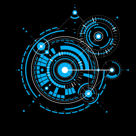Plan technique, projet d'ingénierie abstraite pour une utilisation dans la conception graphique et web. Bleu dessin vectoriel du système industriel créé avec des pièces mécaniques et des cercles. Vecteurs