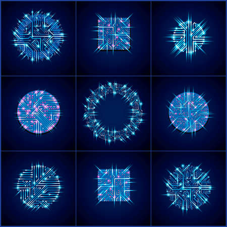 circuit boards: Set of vector technology cpu designs with square and circular blue luminescent microprocessor schemes. Computer circuit boards, digital elements with flash effect.