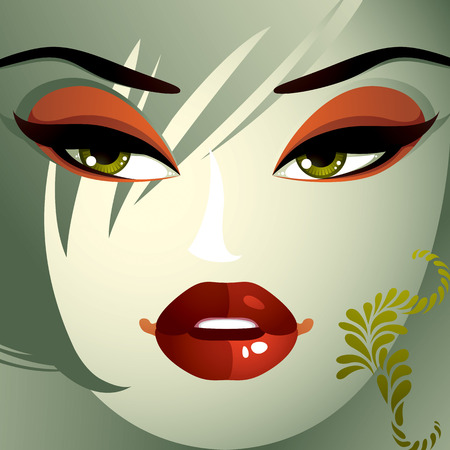 hairdo: Emotional expression on the face of a cute girl.  Angry woman with a modern makeup and stylish hairdo with locks. Illustration