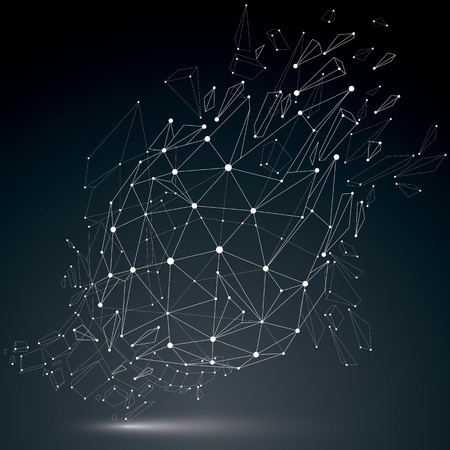 luminescent: 3d vector wireframe object broken into different particles, geometric polygonal structure with white lines mesh. Low poly cybernetic shattered shape with luminescent effect. Digital technology art. Illustration