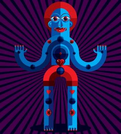 avantgarde: Avant-garde avatar, colorful drawing created in cubism style. Modernistic geometric portrait, vector illustration of idol. Creepy mystic creature, yoga and relaxation theme. Illustration