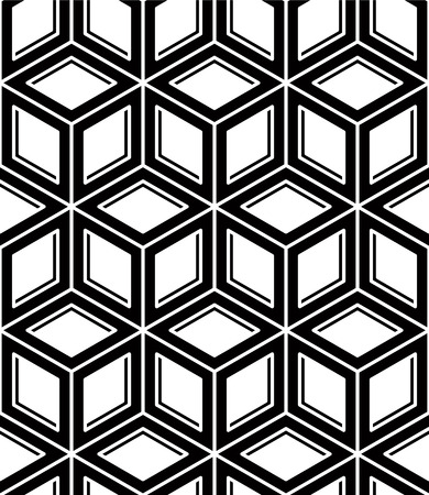 interweave: Monochrome abstract interweave geometric seamless pattern. Vector black and white illusory backdrop with three-dimensional intertwine figures. Graphic contemporary covering.
