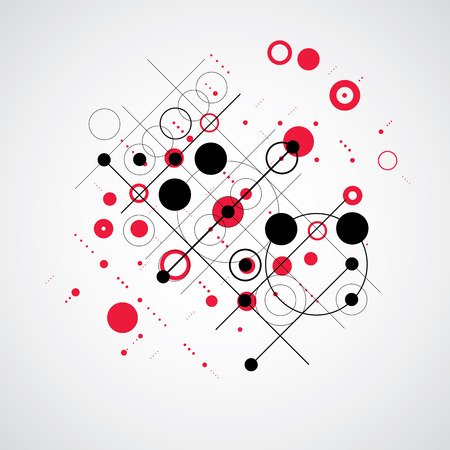 bauhaus: Vector Bauhaus abstract red background made with grid and overlapping simple geometric elements, circles and lines. Retro style artwork, graphic template for advertising poster.
