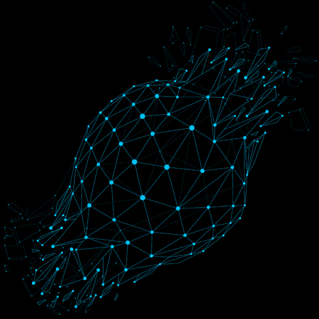 wreckage: Vector wireframe luminescent shine object with blue connected dotted lines, demolished shape with refractions and wreckage. Dimensional mesh global technology element broken into particles.