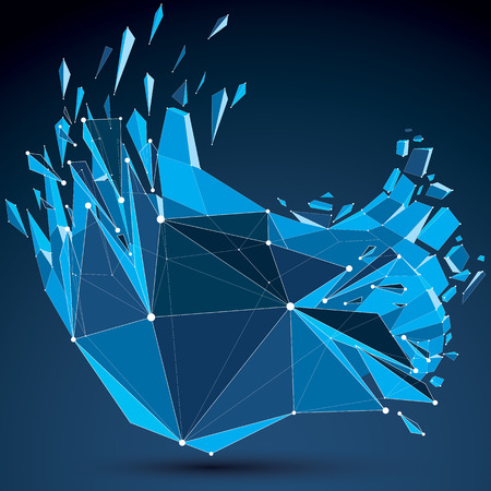 Perspective technology demolished shape with white dotted lines connected, polygonal blue wireframe object. Explosion effect, abstract thread faceted element cracked into multiple fragments. Ilustração Vetorial