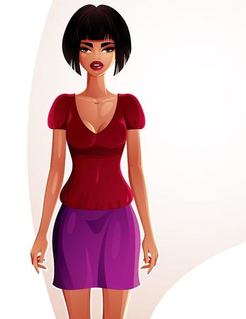 body expression: Ilustraci�n hermosa dama coqueta, retrato de cuerpo entero de una morena esbelta sexy. Gente expresi�n de una mujer joven y bonita.