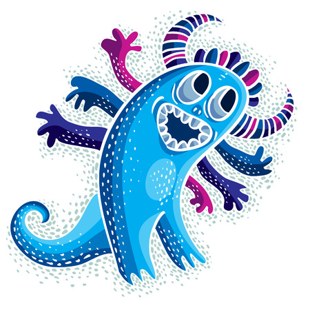 toys clipart: Comic character, vector funny smiling alien blue monster. Emotional expression idea graphic symbol, design element.