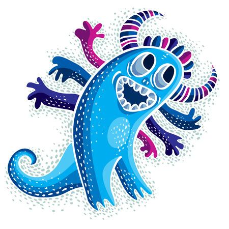 alien cool: Comic character, vector funny smiling alien blue monster. Emotional expression idea graphic symbol, design element.