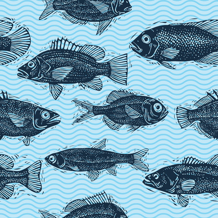 bream: Vector seamless pattern with fishes, different species. Underwater life theme wallpaper, for use in graphic design. Illustration