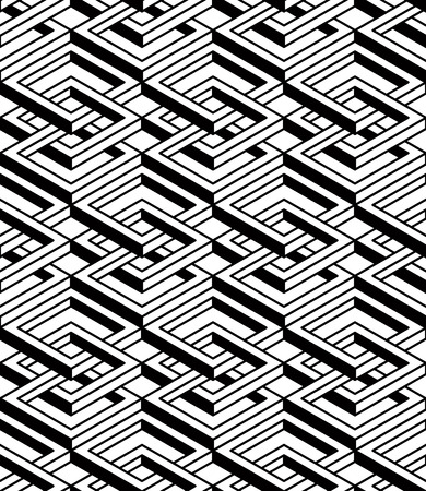 entwine: Regular contrast endless pattern with intertwine three-dimensional figures, continuous illusory geometric background. Illustration