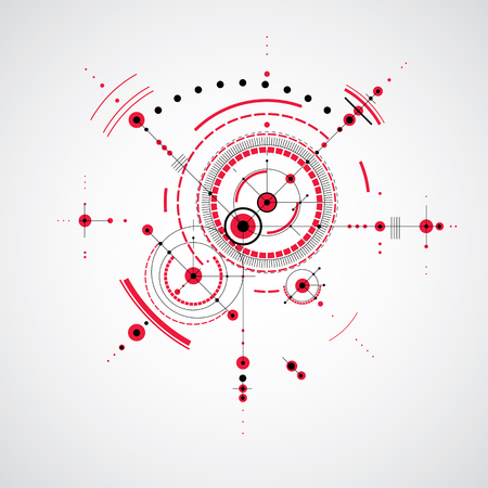 mechanical parts: Technical plan, red abstract engineering draft for use in graphic and web design. Vector drawing of industrial system created with mechanical parts and circles. Illustration