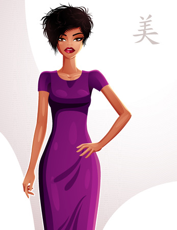 Attractive woman holding her hand on a waist, full body portrait. Gorgeous lady wearing an elegant dress. Illustration