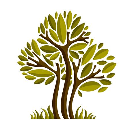 Ilustración de hadas de arte del árbol, símbolo eco estilizado. Imagen de vector de Insight en la idea de la temporada, bella imagen. Ilustración de vector