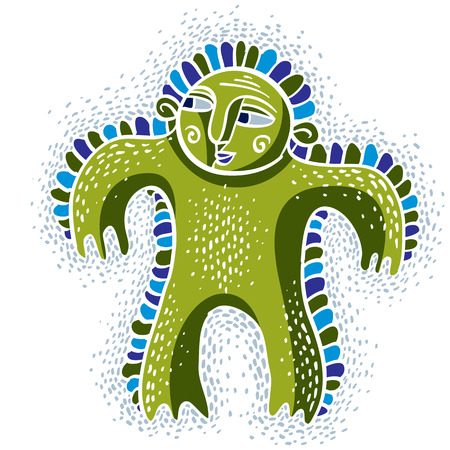 weird: Character monster vector flat illustration, cute happy green mutant. Drawing of weird beast, emotional expression.