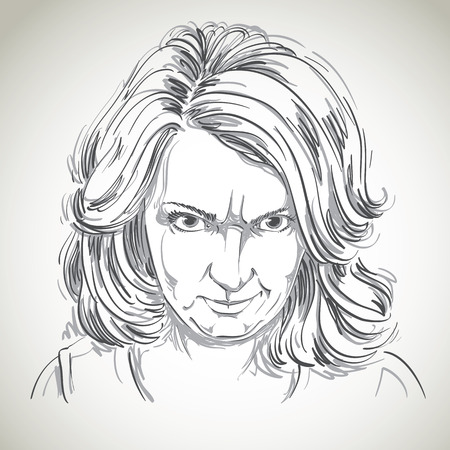 wrinkles: Hand-drawn portrait of white-skin arrogant woman with wrinkles on her forehead, face emotions theme illustration. Angry lady posing on white background.