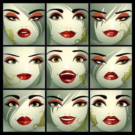 Aantrekkelijke dames vector portretten collectie, meisjes met mooie make-up en groene ogen. Gelaatsuitdrukking van de vrouwtjes.