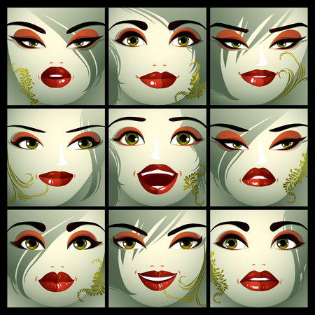 Attractive ladies vector portraits collection, girls with beautiful makeup and green eyes. Facial expression of females.