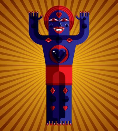 cubismo: Estilo modernista colorida ilustración vectorial a partir de figuras geométricas. Imagen Diseño plano de la criatura mítica, tema cubismo.